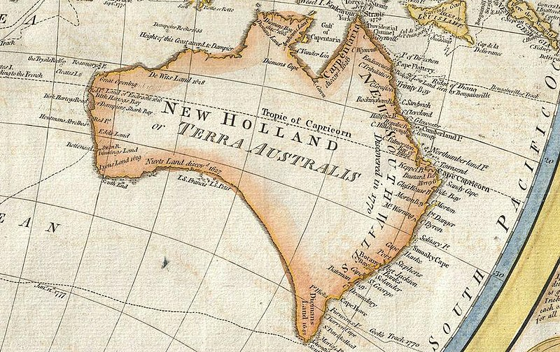 Australia in 1794 Samuel Dunn Map of the World in Hemispheres.JPG