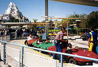 Autopia in 1996, before its complete remodel in 2000. The Autopia cars at this time closely resembled the Corvette Stingray.