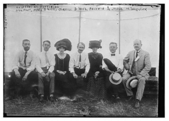 Aero Club of America - Augustus Post, Bud Mars and his wife, Glenn Curtis and Lena Curtiss, Thomas Scott Baldwin, and Judge Wheeler at air show in Pittsburgh – 1910.