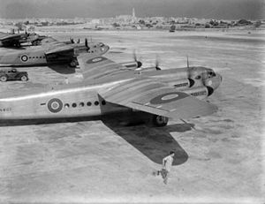 No. 511 Squadron RAF - A 511 Sqn York CI on its way to the Far East at Luqa, Malta, 3 August 1945.