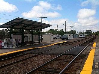 Ayer (MBTA station) - Platforms at Ayer, looking westward, in August 2011