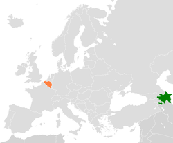 Map indicating locations of Azerbaijan and Belgium