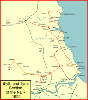 Blyth and Tyne Railway - System map of the Blyth and Tyne section of the North Eastern Railway in 1922