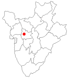 Location of Muramvya in Burundi