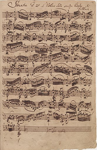 Sonatas and Partitas for Solo Violin (Bach) - Opening adagio from BWV 1001 in autograph manuscript, 1720