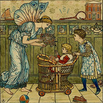 Edmund Evans - Crane's watercolour of the frontispiece for Baby's Bouquet to be engraved and printed by Evans.