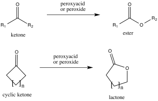 Baeyer–Villiger oxidation organic reaction that forms an ester from a ketone or a lactone from a cyclic ketone