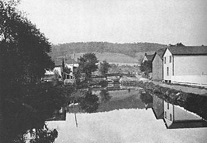 Pennsylvania Canal (West Branch Division) - Bald Eagle Crosscut Canal in Lock Haven, 1898 or earlier. View is to the north from Main Street.