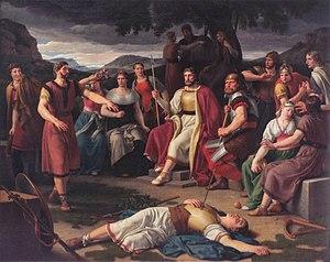 Los Æsir rodeando el cuerpo de Baldr, Christoffer Wilhelm Eckersberg, 1817