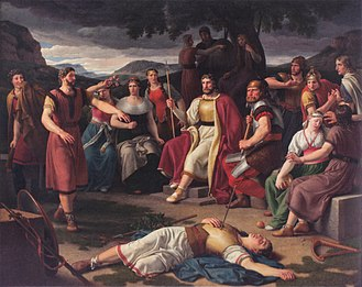 Æsir - Æsir gathered around the body of Baldr. Painting by Christoffer Wilhelm Eckersberg 1817