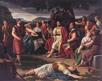 Æsir - Æsir gathered around the body of Baldr. Painting by Christoffer Wilhelm Eckersberg 1817