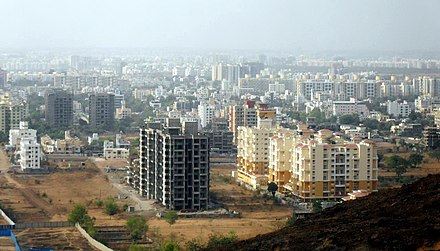 Baner, a recently developed suburb of Pune. Baner from Baner Pashan Biodiversity Park.JPG
