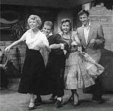 Barbara Ruick, Bob Fosse, Debbie Reynolds and Bobby Van in The Affairs of Dobie Gillis trailer.jpg