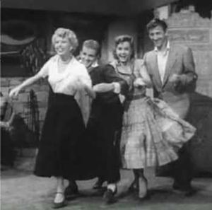 Barbara Ruick - L-R: Ruick with Bob Fosse, Debbie Reynolds and Bobby Van in The Affairs of Dobie Gillis (1953)