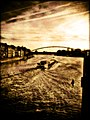 Barge on the Meuse river at sunset, Maastricht, Netherlands.jpg