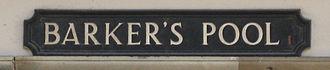 Barker's Pool - Street Sign
