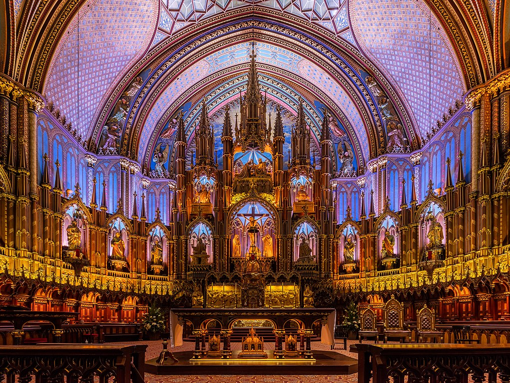 Notre Dame basilica in Montreal, Canada.