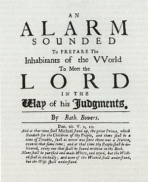 Bathsheba Bowers - Title page of An Alarm Sounded to Prepare the Inhabitants of the World to Meet the Lord in the Way of His Judgments (1709)