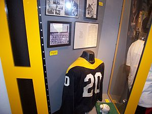 "Logos and uniforms of the Pittsburgh Steelers - The Steelers' ""Batman""-style uniforms the team experimented with in 1966-1967."