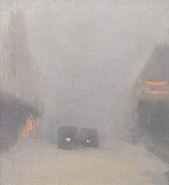 Clarice Beckett - Passing Trams, 1931, Art Gallery of South Australia