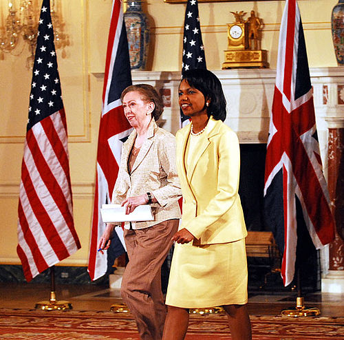 Beckett appears with US Secretary of State, Condoleezza Rice, following her appointment as Foreign Secretary Beckett Rice.jpg