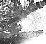 Beloit Glacier, terminus of tidewater glacier and hanging glaciers, August 22, 1968 (GLACIERS 6392).jpg