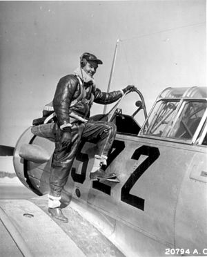 Benjamin O. Davis Jr. - Captain Benjamin Oliver Davis Jr. of Washington, D.C., climbing into an Advanced Trainer. Tuskegee, Alabama. January 1942