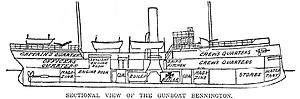 USS Bennington (PG-4) - Sectional view of the gunboat Bennington – Boston Daily Globe, 23 July 1905