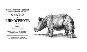 Karl August von Bergen - Front page and figure of Oratio de rhinocerote, 1746