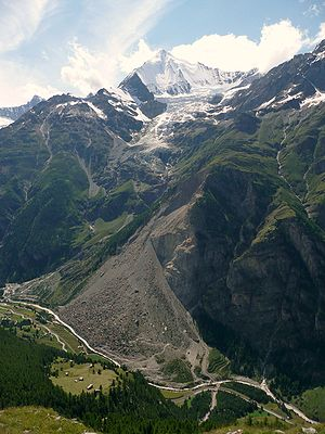Randa, Switzerland - The recent landslide above Randa