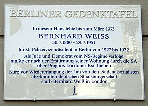 Bernhard Weiß (police executive) - Memorial Plaque in Berlin-Charlottenburg