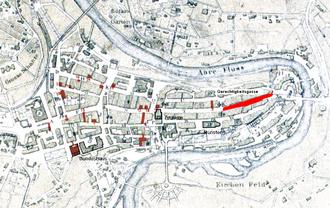 Gerechtigkeitsgasse - Old City of Bern with Gerechtigkeitsgasse highlighted
