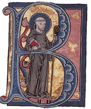 Saint Bernard of Clairvaux, in a medieval illuminated manuscript.