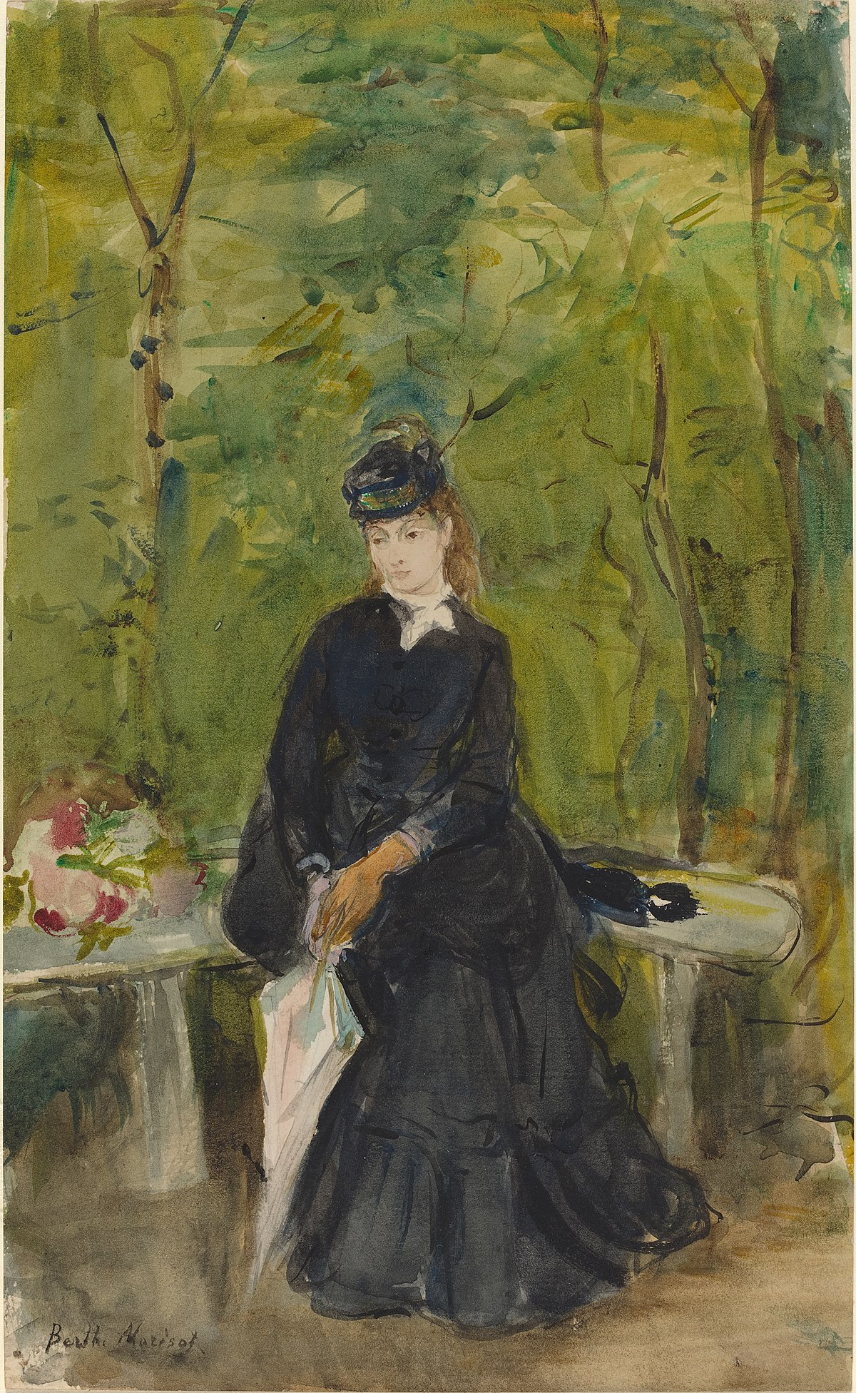 The Artist's Sister Edma Seated in a Park - Wikidata