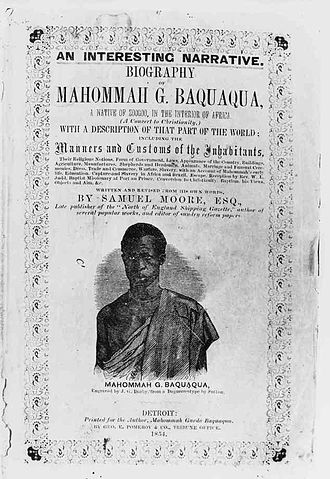 Mahommah Gardo Baquaqua - Book cover of Baquaqua's memoirs, published in 1854