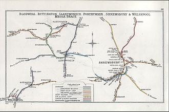 Shrewsbury and Hereford Railway - Image: Blodwell, Buttington, Llanymynech, Porthywaen, Shrewsbury & Welsh Pool Meole Brace RJD 068