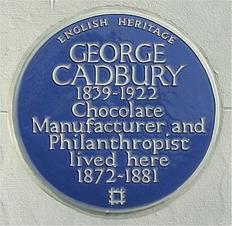 George Cadbury - Blue plaque at George Road, Edgbaston