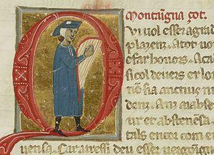 Guilhem de Montanhagol - Miniature of Montanhagol playing a harp from a 13th-century chansonnier