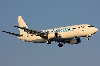 Blue Air - Blue Air Boeing 737-400 wearing the former livery