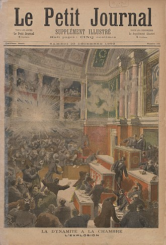 Propaganda of the deed - Artist's rendition of the bomb thrown by the anarchist Auguste Vaillant into the Chamber of Deputies of the French National Assembly in December, 1893