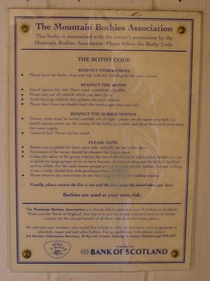 Bothy - The Bothy Code, seen at the 'Tarf Hotel' Bothy, Perth and Kinross.