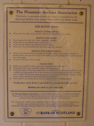 Bothy - The Bothy Code, seen at the 'Tarf Hotel' Bothy, Perth and Kinross