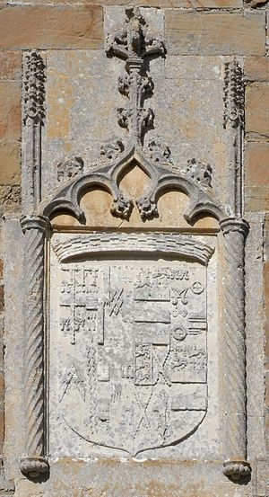 John Bourchier, 2nd Earl of Bath - Arms of Bourchier impaling Manners, sculpted above door to south chancel aisle, built by the 2nd Earl, Tawstock Church. Representing arms of John Bourchier, 2nd Earl of Bath (1499 – 1560/61) (with 10 quarterings) impaling Manners (with 4 quarterings), for his second wife Eleanor Manners, daughter of George Manners, 11th Baron de Ros (c. 1470 – 1513)
