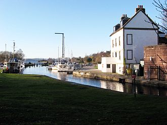 Forth and Clyde Canal - At Bowling the canal widens to a basin at the sea lock to the River Clyde.