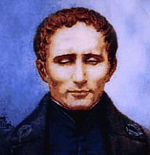 The picture (it could be a pastel drawing or a watercolor) shows a portrait of Louis Brailles against a blue-violet background.  He wears a dark robe with a stand-up collar, has brown, slightly wavy hair, a high forehead and strong cheekbones.  The deep-set eyes are almost completely closed.  Braille appears - almost monastic - withdrawn.