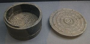 Thetford Hoard - Shale box, part of the hoard, probably containing the smaller items.