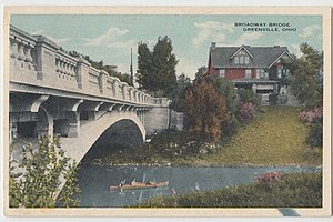 Broadway Bridge (Greenville, Ohio) - Upstream side of the bridge, pictured circa 1920