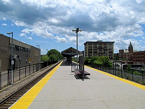 Brockton station platform and police station, June 2017.JPG