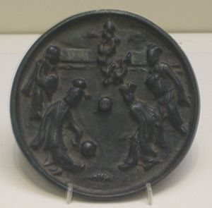 Cuju - Image: Bronze mirror depicting kickball