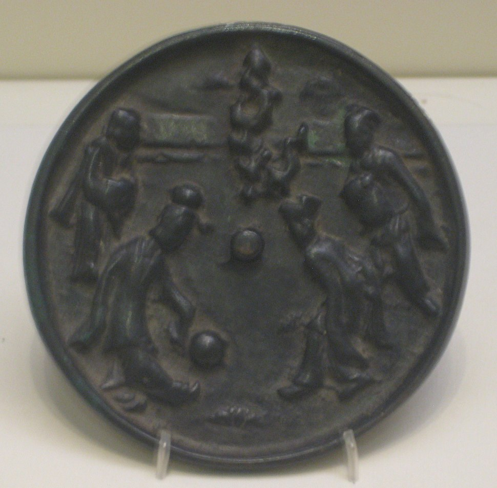 Bronze mirror depicting kickball